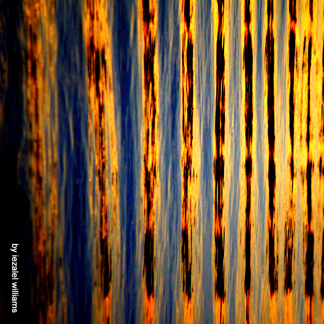 Photo is of waves of water set in an abstract image of orange, blue, and black bars.